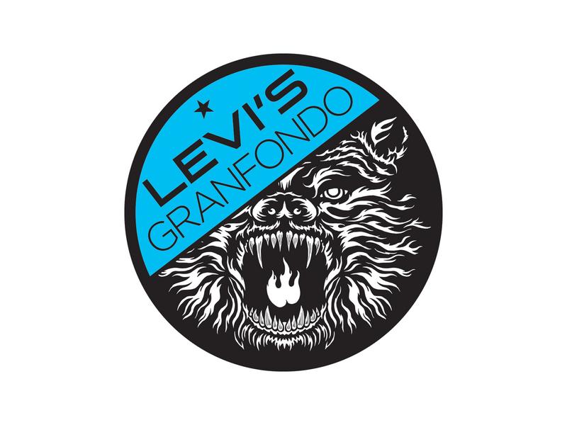 Levi's GranFondo circular logo illustration icon branding flat design