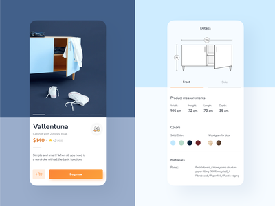 Furniture App • Product Details furniture app ecommerce minimal ux mobile app product page uiux ui app furniture