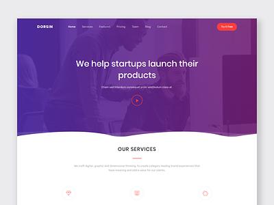 Dorsin -  Landing Page Template marketing landing page template webapp ui ux design flat