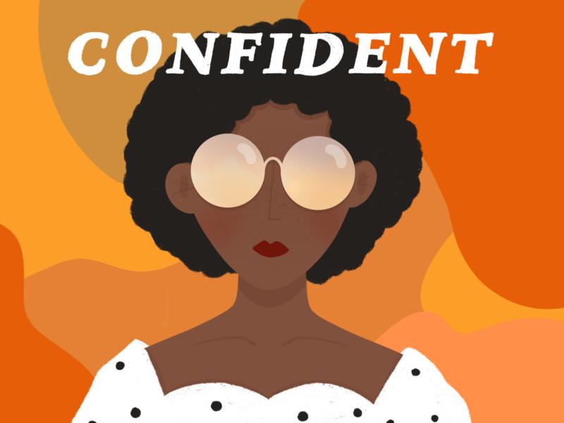 Confident girl power female empowerment empowerment flat minimal design procreate app illustration african american woman illustration woman