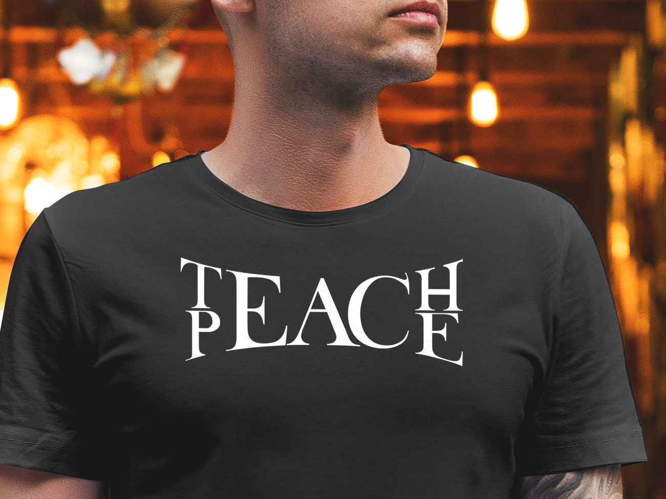 TeacH PeacE serifs tshirt graphics concept art design typography