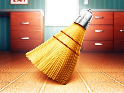 Broom broom icon mac illustration picture switch duster metal shiny lens light window handle tile floor rope bristles