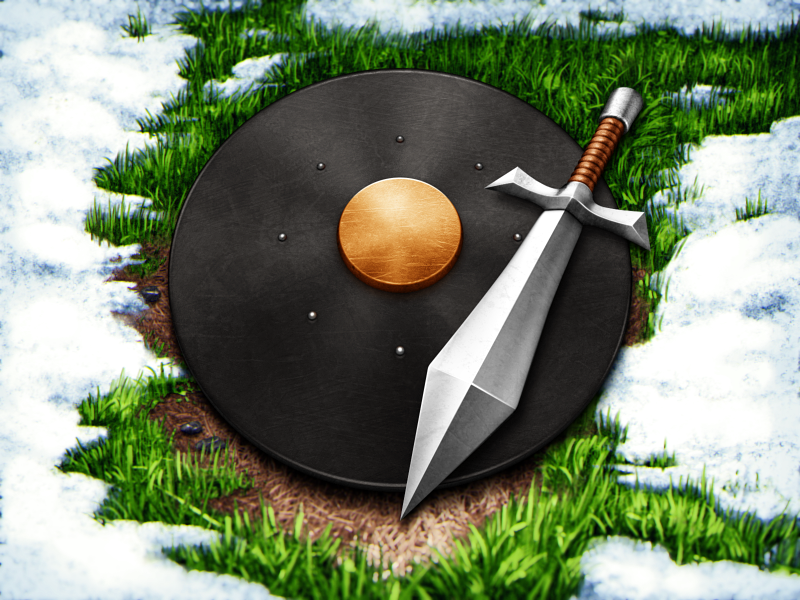 Warrior Update icon shield grass snow sword leather metal gold game shiny
