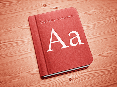 Dictionary icon mac thesaurus book binding leather shiny wood paper texture