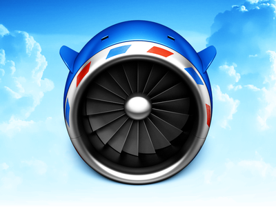 Turbine icon mac engine metal blades stripes jet plane airplane clouds