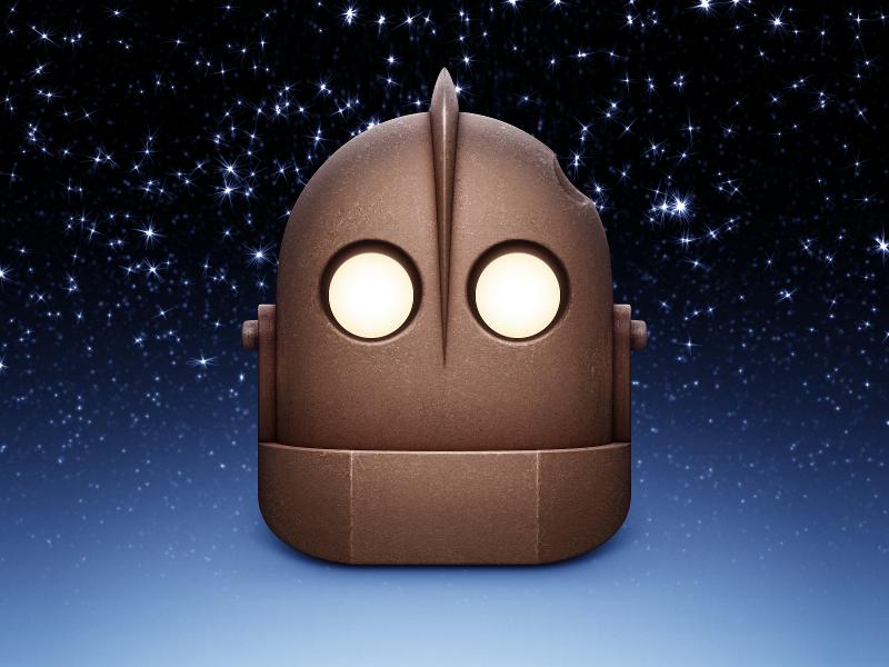 Iron Giant icon mac trash gun robot metal eyes film bolt movie