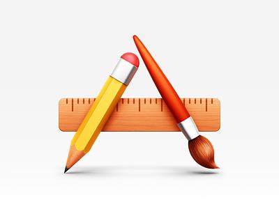 Applications icon applications mac shiny pencil paintbrush ruler wood metal brush