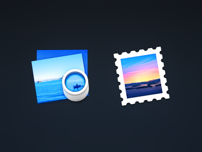 Preview & Mail paper photo loupe email stamp yosemite icons metal mac icon