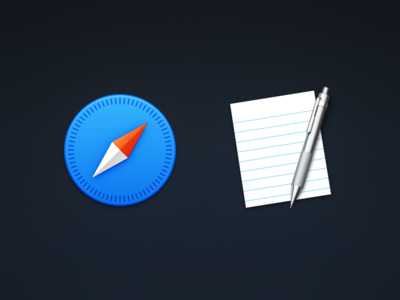 Safari & TextEdit compass pencil paper icns yosemite icons metal mac icon