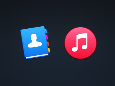 Contacts & Music el capitan user note yosemite mac icons itunes tabs book address book