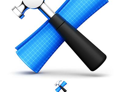 Xcode & App Store coaster metal paper blueprint code hammer mac icons yosemite el capitan icon