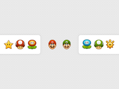 Mario Bros. nintendo mario bros icons luigi shine sprite star mushroom 1up fire flower ice flower 32px