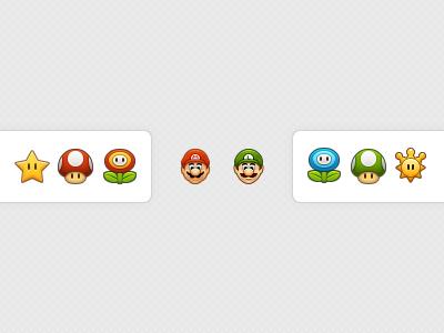 Mario Bros. nintendo mario bros icons luigi shine sprite star mushroom 1up fire flower ice flower 32px