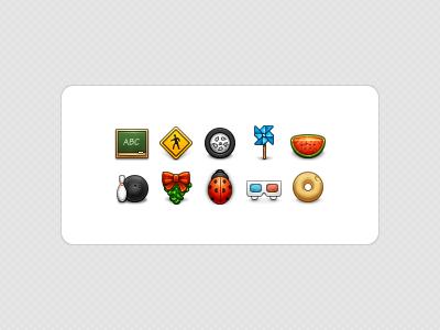 Aléatoire Icons 32px icons chalkboard sign tire pinwheel watermelon slice bowling ball pin mistletoe ladybug donut 3d glasses