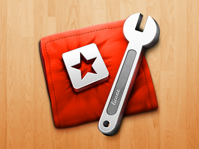 Licone red velvet cloth spanner icon star token metal mac
