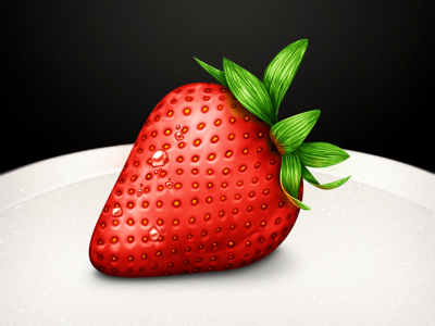 Strawberry Practice strawberry leaves dew water drops droplets plate seeds icon mac