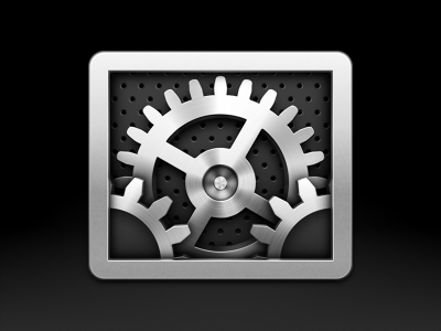 System Preferences ios6 mac icon gears metal anisotropic reflections industrial shiny