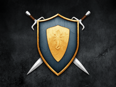 Wesnoth game shield metal worn grunge sword emblem leather shiny icon mac
