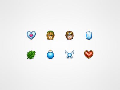 Legend of Zelda zelda icons nintendo game 32px heart container crystal deku leaf bomb navi fairy rupee link princess hero icon