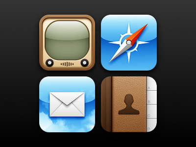 iOS Practice ios ipad iphone youtube tv safari compass needle mail clouds letter envelope address book contacts leather stitching plastic icon icons