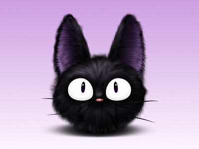 Jiji kiki cat witch black eyes nose fur hair whickers purple ears ghibli studio icon