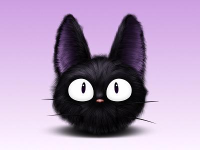 Jiji kiki cat witch black eyes nose fur hair whickers purple ears ghibli studio icon