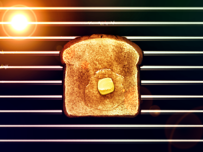 Hyper-Hyper-Realistic Toast Icon toast lens flare shiny best metal sparkle butter bread