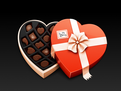 Candy Box icon illustration heart valentine chocolate sugar ribbon bow plastic