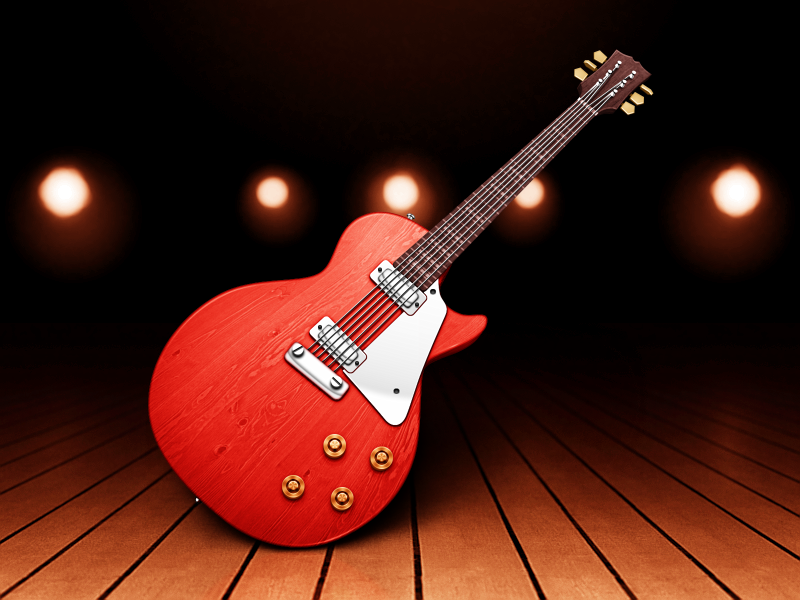 Garageband garageband guitar metal wood knobs strings frets dials lights stage music icon mac les paul