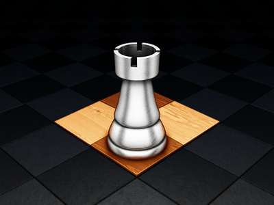 Chess mac icon chess rook castle metal shiny wood panel game texture scratches scuffs