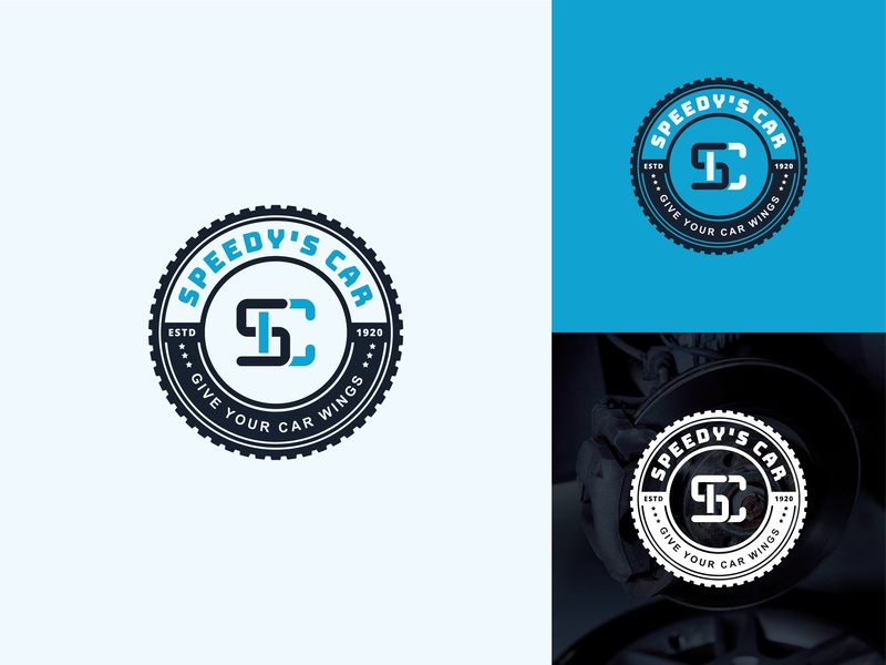 Speedy's Car Logo icon typography logo concept logo design color monogram blue and white white badge logo sc logo sc dribbble design creative logo