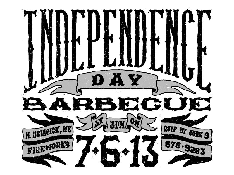4th Of July Invite lettering texture type typography type design invite invitation ribbon