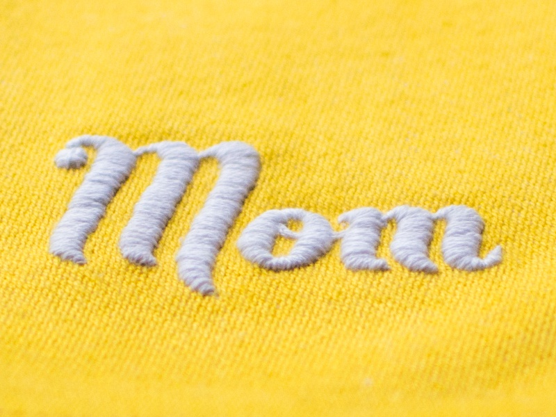 Mom mom mothers day embroidery buttermilk jessica hische script yellow fabric