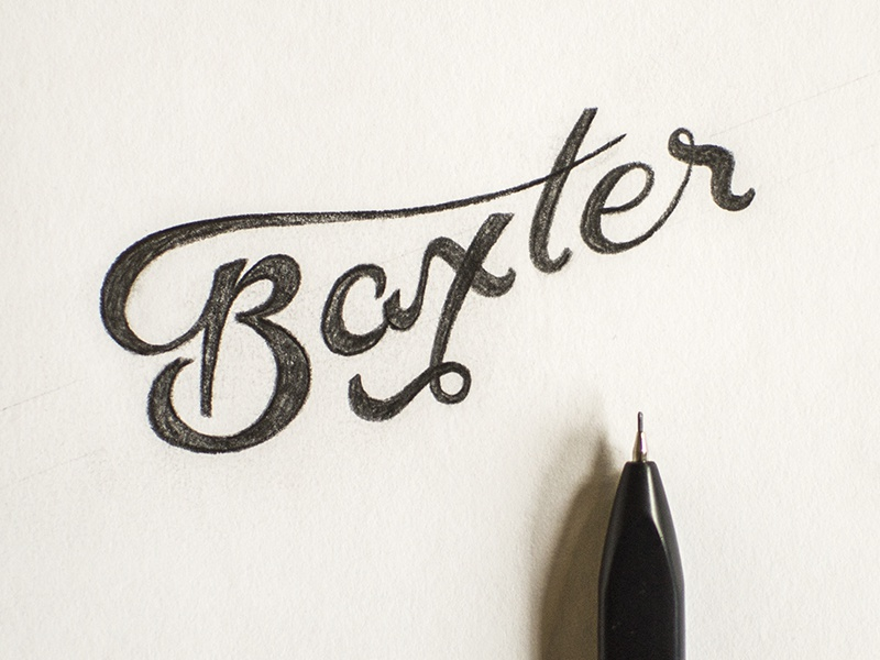 Baxter script hand lettered hand lettering pencil moleskine b