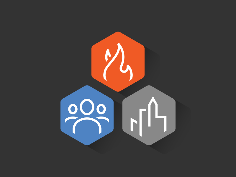 The Art Of Placemaking icons icon hexagon line shadow skyline city flame fire people group users