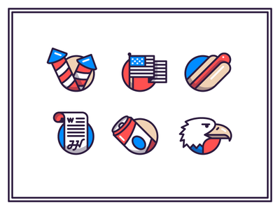 4th of July 4th of july icons eagle hot dog fireworks declaration of independence flag america beer