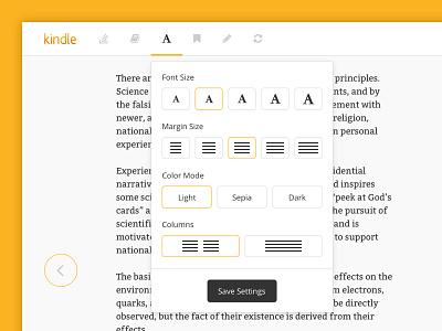 Kindle Cloud Reader - UI Redesign menu dropdown settings toggle navigation user interface redesign ui