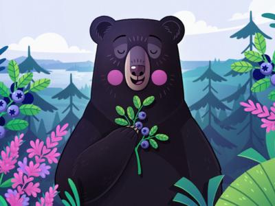 Diane quebec flowers blackbear bear children illustration illustration