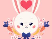 Jeanne heart flowers carrots rabbit children book illustration illustration