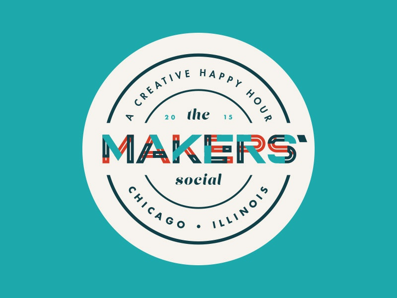 Makers' Social typography logo badge