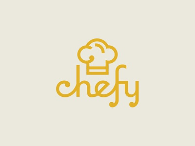 Chefy yellow typography script chef food logo