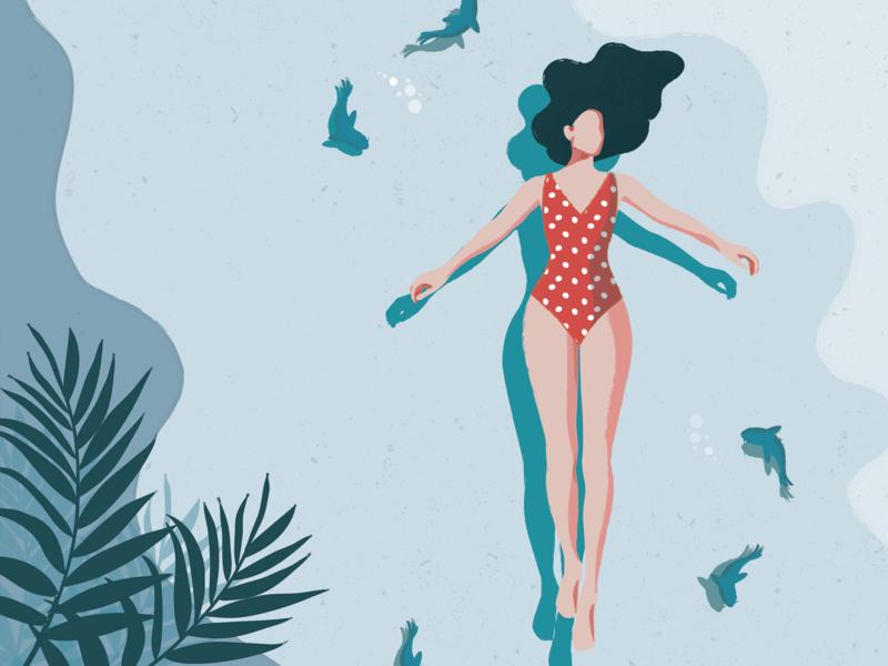 Melancholy summer swiming sea flat fashion vector illustrator illustration graphic character charachter