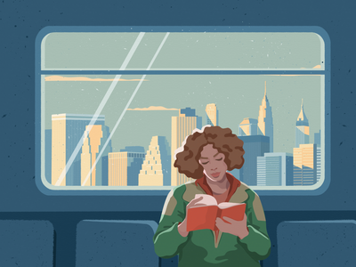 NYC mood subway landscape city architecture new york nyc woman vector illustrator illustration graphic character charachter