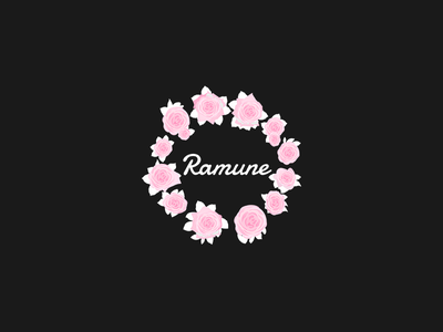 Ramune Logo simple pink roses flower clothes fashion logo