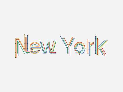 New York colour nyc typography map subway new york