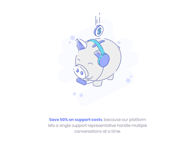 Support Cost Savings isometric lineart fun illustration coin headset bank pig saving piggybank support