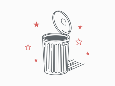 Trash illustrator illustration design lineart trash can garbage