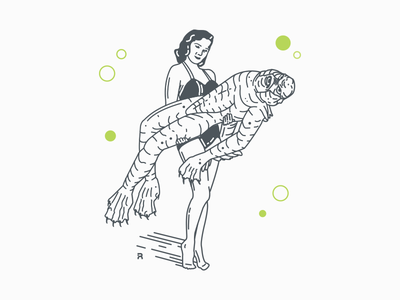 The Woman From The Black Lagoon classic movie monster creature design line lineart illustration horror