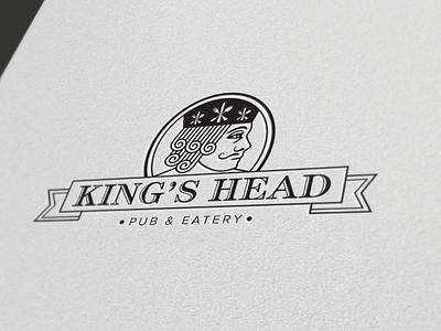 The King's Head Pub & Eatery restaurant logo brand design illustration pub king