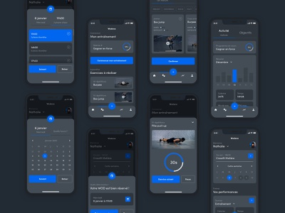 Fitness App - UX/UI Exploration crossfit user interface ui  ux design ui design application dark theme dark mode workout wod mobile exploration fitness app concept